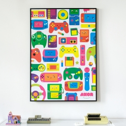 'Love for Games' poster by AXOR Heroes. Representing 30 years of video game history in a colorful and cute way.