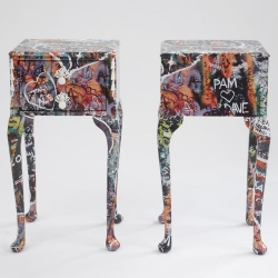 The Romeo and Juliet sidetables  were inspired by Anna James' visits to the infamous Juliet's house in Verona where the walls are covered with romantic graffiti.