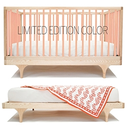 Kalon Caravan Crib - Lovely minimalist design, beautiful curves, and a rainbow of colors. Also converts to Platform Style Toddler Bed!