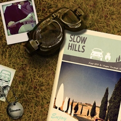 Slow Hills ~ adorable website for Tuscan 70s Vespa and Fiat 500 rentals ~ like an getaway/adventure waiting to happen! Esp with the welcome kit: cotton t-shirt, shoulder bag and a pair of gloves!