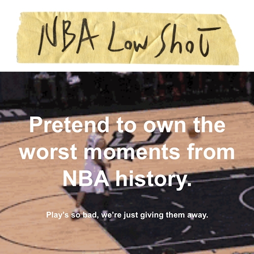 "NBA LOW SHOT - A parody of NBA TOP SHOT that ""sells"" all the worst moments from NBA history, for free. By Steven Nass and Jeff Rozman."