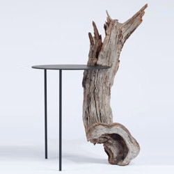 """Designer Tomas Alonso pays homage to French artist Pierre Leron Lesur, who passed away in the beginning of 2014, with a furniture series that gives a functional dimension to the woodworking technique called """"Sylvistructure""""."""