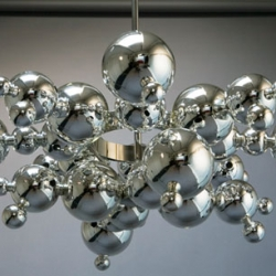 Shiny molecular model-like chandelier by Luc Gensollen's for Charles.