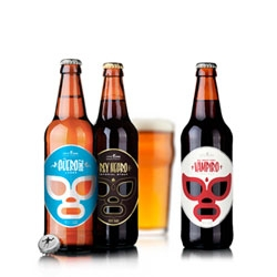 José Guízar's lucha libre inspired packaging design for Cervecería Sagrada.