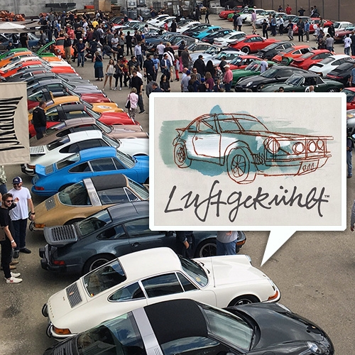 Luftgekühlt 2016 at the Modernica factory today - a few hundred air-cooled vintage Porsche coupes filled the parking lot, warehouses, and surrounding streets as well as a pop up shop of ltd ed shirts, posters, eames chairs and more.
