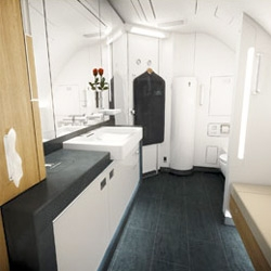 A peek into Lufthansa's new first class bathrooms ~ they even have a separate changing area!
