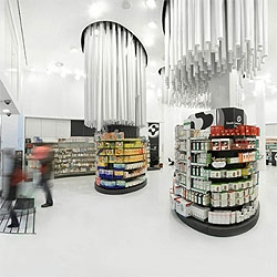 Spanish architects Studio M converted the old  Conde Lumieres pharmacy into a brand new drugstore, plenty of light  and space.