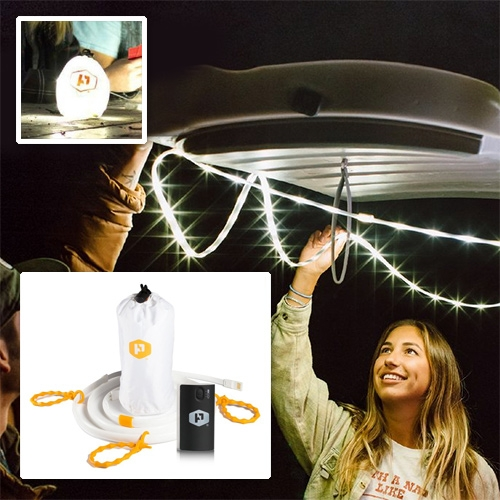 Power Practical Luminoodle! A flexible, waterproof led strip that comes with universal ties, embedded magnets, utility loop, and a lantern bag so you can stick, strap, hook, or hang it. Comes in 5 or 10ft and optional battery pack.