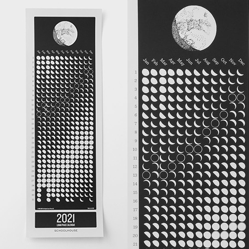 "Schoolhouse Lunar 2021 Calendar - ""Beautiful, hand-drawn graphics are created by Katheren Belle, while the dates used to chart the lunar phases are from the Nautical Almanac Office at the U.S. Naval Observatory."""