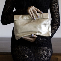Marie Turnor leather LUNCH bag ~ in metallic!