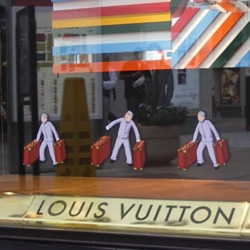 Louis Vuitton's Monogram Groom collection - tintin-esque illustrations on the new line of LV. Check out store front and products pictures here.