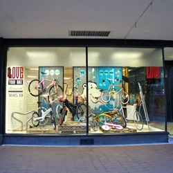 Gearing up for Love Your Bike Portsmouth. The window display at Debenhams, Southsea is now finished. Bikes from Ben Wilson, Gocycle, I Love Dust & Tokyo Fixed Gear aswell as boards by Fark.