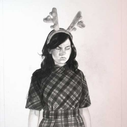 "Described as ""equal parts Tim Burton fairy tale, Cindy Sherman photograph, and girlish fantasy,"" Mercedes Heinwein's pencil drawings are always hopelessly engaging."