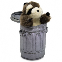 "Cute raccoon puppet that pops out of a trashcan that has ""please recycle"" on its exterior"