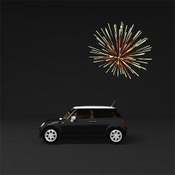 Fun concept for the Fireworks car finder, by Tokyo based web/graphic designer Mac Funamizu.