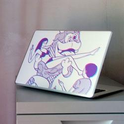 3D inspired hand printed laptop skin by Kimiaki Yaegashi, Japan.