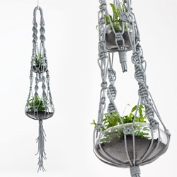 Something so lovely about the combination of thick macrame hanging glass pots with plants... by Smalltown of Australia
