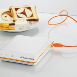 A toaster that can print anything onto a piece of bread from Swedish manufacturer Electrolux, with no plans for mass production unfortunately.