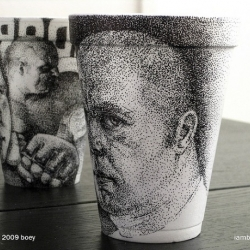 Cheeming Boey does really awesome illustrations on styrofoam cups with a sharpie. We talked to him about it...