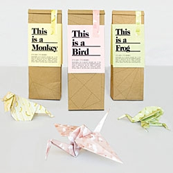 This is Origami by Magdalena Czarnecki. Empty paper bags, containing simple step by step instructions on how to fold the bag into an origami animal, becomes a sustainable designer toy, in paper.