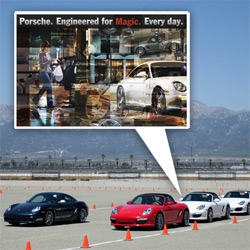 Porsche Every Day ~ adorable new ad campaign ~ and a look at the World Roadshow event in Los Angeles, taking various Porsches for a spin at California Speedway.