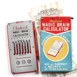 It's always fun to revisit vintage packaging. Gotta love the Chadwick Magic Brain Calculator from the 50s. It never makes a mistake and can add, subtract and multiple up to 99,999,999!