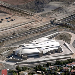 Convention Center in Tenerife, referring huge geometric rocks that house the programme functions. By AMP Arquitectos