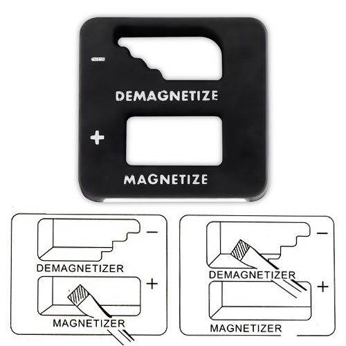 Precision Demagnetizer/ Magnetizer by Katzco. To magnetize a tool, simply slide it through the center hole. To de-magnetize a tool, slide it through the side slots. Perfect for screwdrivers and bits!