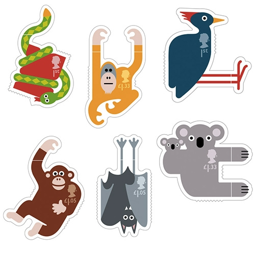 Royal Mail's Animail Stamps! Designed to hang on to the edges of your envelopes by London design studio Osborne Ross.