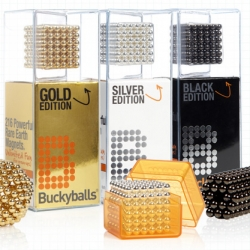 Buckyballs just launched versions plated in Gold, Silver, and Black Nickel.