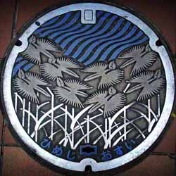#509 has nothing on these. a collection of Japanese Manhole covers, beautiful designs, enameled, no two are the same.