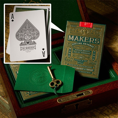 Makers Special Reserve Playing Cards by Dan & Dave. Luxury Playing Cards featuring 14 custom illustrated court-cards. Housed inside a gorgeous wooden box featuring green-leather interior and a vintage-inspired lock and key.