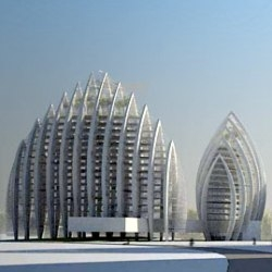 A stunning new residential development planned for the Putrajaya waterfront in Malaysia -  unique, marine-inspired structures arranged in a permeable, radiating block of bioclimatic architecture.