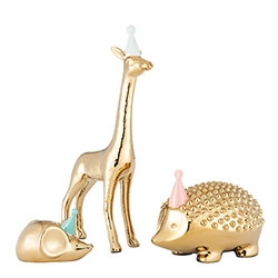 Oh Joy! for Target Home Decor/Nursery Collection is coming in Feb. The brass animals with party hats are adorable!