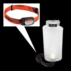Fascinating idea from Mammut ~ you can attach a headlamp to this special Ambient Dry Light Bag to created a nice diffused light lamp... and when not in light mode, use it like a regular dry bag.