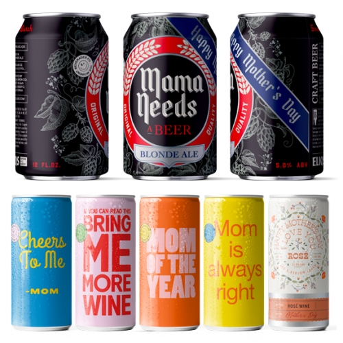 """Eliqs Mother's Day Beer and Rosé offerings - the packaging is everything! And for the ultimate gift, Mother's Day Garden Party lets you """"add a photo and custom text to our design to surprise Mom with the drink she deserves."""""""