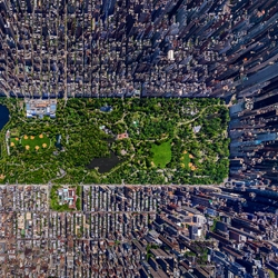 Sergey Semonov, a Russian photographer, received a 2012 Epson Pano Award for his aerial photograph of Manhattan that was stitched together from multiple shots from a helicopter over the city. Mesmerizing 3d effect.