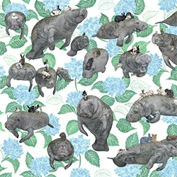 """Pangaea Seed's Sea of Change: The Year of Living Dangerously October print is from Kozyndan, """"Manatees'n'Bunnies"""""""