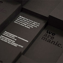 Namecards by Manic Design. Hotstamped and silkscreened on a smooth, heavy, black cardstock.