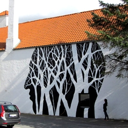 David de la Mano and Pablo S. Herrero have collaborated in Norway and created these profiles of people and trees on buildings.