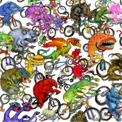 The fun illustration of Philip Newsom, who makes many monsters on bikes seem like a great idea