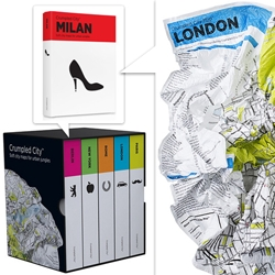 Crumpled City Maps ~ awesome packaging, and now available in city sets, these tyvek maps are meant to be crumpled up in your pocket/purse/etc!