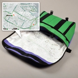 Messenger Bags with city maps printed on the liner! Not as fancy as an iPhone, but a darn sight better in the rain! Made by Trakke, collaboration with Grid.