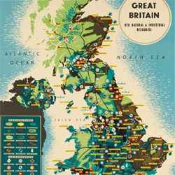 Amazing vintage map of Great Britain ~ you have to see the huge version to appreciate the tine details ~ like the sheep! and engineering and such...