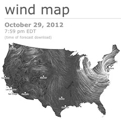 Amazingly mesmerizing Wind Map... Hang in there East Coasters, Sandy will pass soon!