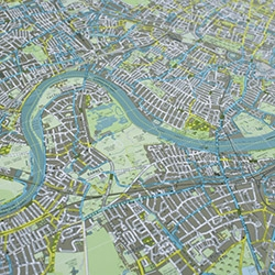 Lithographically printed street-map of London by Future Mapping Co featuring fantastic luminescent, metallic inks (in this case, apple, aqua and champagne). Modern meets traditional.