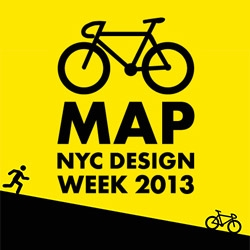 The New York Design Week Bike Map - created by a collaboration between BIKEID and Wanted Design. Leave your car and yellow taxi at home and bring your bike - greener, faster, more design, more parties!