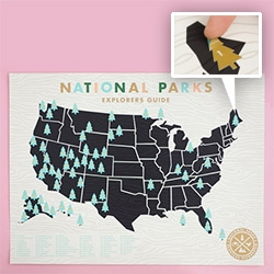 National Parks Checklist Map Print by ElloThere with tree stickers to mark which ones you have visited! There is also a stretched canvas version.