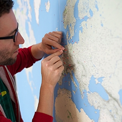 "DIY wall sized 3m by 2m World Map with a high level of detail thanks to Google Maps by Dominik Schwarz. ""I envisioned a gigantic poster that would show the smallest villages, the most detailed coast lines and the highest level of information density possible."""
