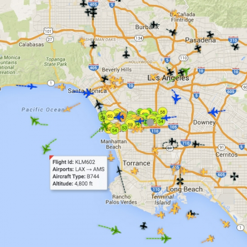Los Angeles City Controller has released an interactive map visualizing Real-Time Noise due to planes, etc. Mesmerizing... hover over a plane to see where it's headed and what altitude it's at.